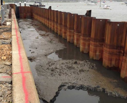 Soft marine silts entrapped between the new sheet pile wall and the old quay
